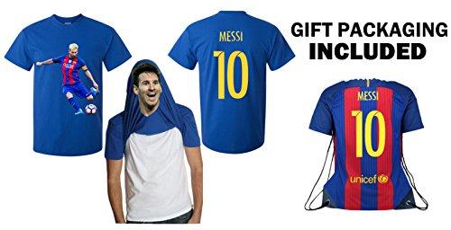 iSport Gifts Barcelona Lionel Messi #10 Trikot-T-Shirt für Kinder, Fußball-T-Shirt, Jugend-Geschenkset, Premium-Qualität, Geschenkverpackung, Fußballrucksack, blau, Erwachsene L