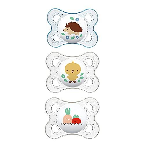 MAM MAM Schnuller von Clear Collection, 3 Stück, 0–6 Monate, Baby-Schnuller, Baby, Jungen, bester Schnuller für stillende Babys, Designs können variieren