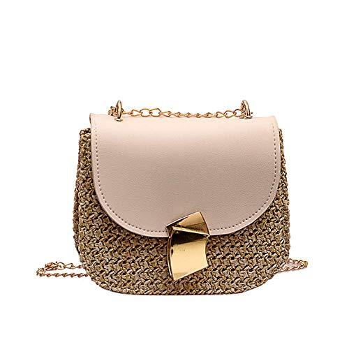 Fliyeong Bolso pequeño para mujer de hombro Joker Messenger Bag Girl Straw Bag creativo y útil