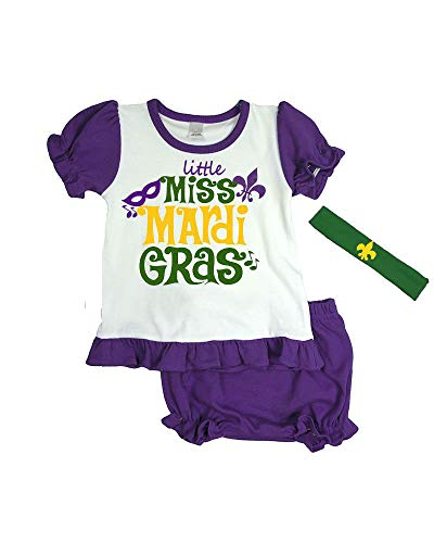 Mardi Gras Baby Girl Outfit - Little Miss Mardi Gras (6-12m, White/Purple)