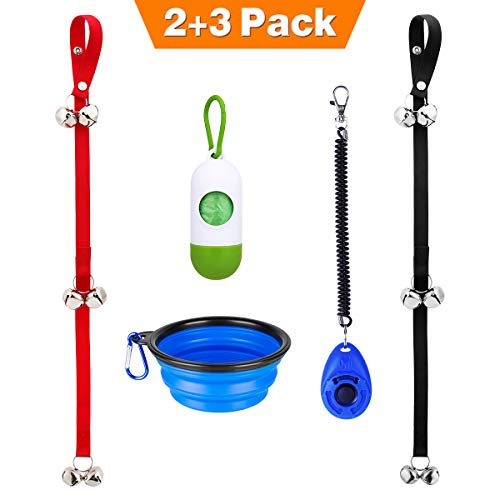 Manfiter Dog Doorbell for Potty Training with Collapsible Dog Bowl and Dog Clicker and Potty Waste Bag Dispenser with 15 Count Bags, Dog Doorbells, Bathroom Bells for Puppy Training