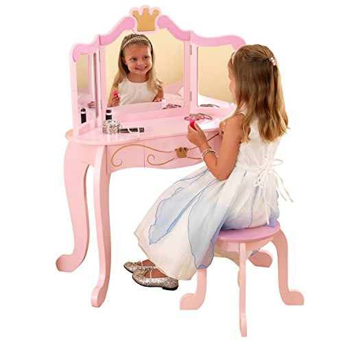 KidKraft 76123 Princess Wooden Vanity Stool with Mirror, Kids Children's Playroom/Bedroom Furniture, Pink