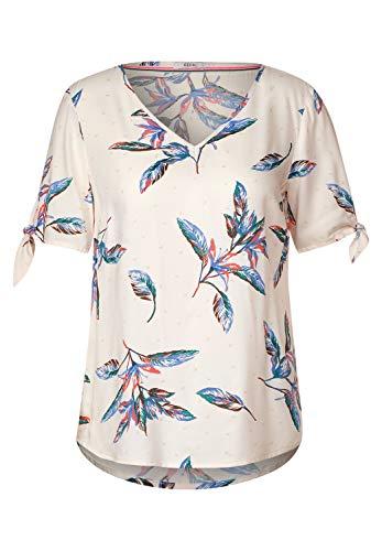 Cecil Damen Bluse mit Blättermuster Light Alabaster beige M