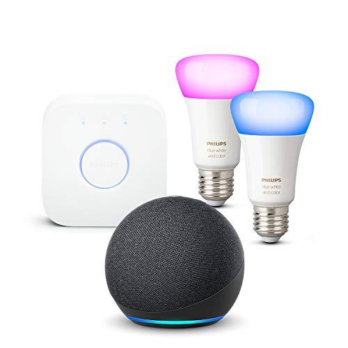 Nouvel Echo Dot (4e génération), Anthracite + Philips Hue Kit de démarrage...