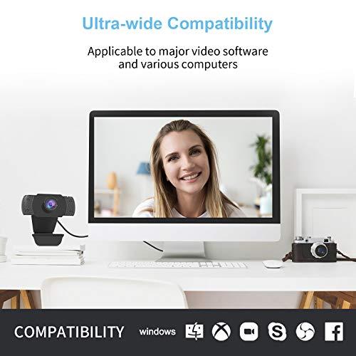 wansview Webcam 1080P mit Mikrofon, PC Laptop Desktop USB 2.0 Webkamera für Videoanrufe, Studieren, Konferenzen, Aufzeichnen, Spielen mit drehbarem Clip
