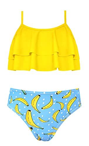 SHEKINI Niña Traje de Baño de Dos Piezas Ruffle Bikini Bañadores Impresos Traje de Baño (12-14 años, Amarillo B)