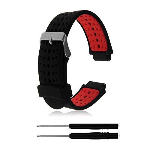 ZSZCXD Pulseira de relógio de substituição de silicone macio para relógio inteligente Garmin Forerunner 235/220/230/620/630/735 (02 preto e vermelho)