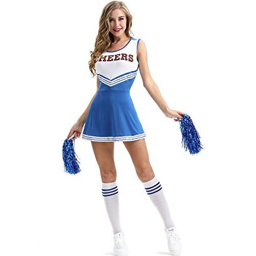 WSLCN Femme Déguisement Pompon Girl Déguisement de Pom-Pom Robe Fill Uniforme Cosplay Costume de High School Musical Debardeur Jupe Halloween avec Pompons Bleu FR 40 (Asie M)
