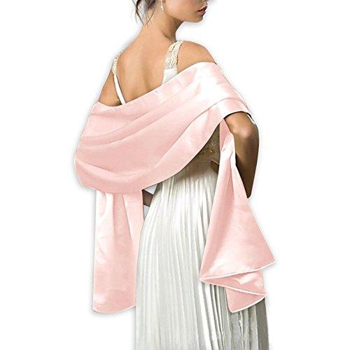 Estola, de satén, pashmina, para mujer, 240 x 75 cm, para ceremonias, fiestas, bodas, rosa,