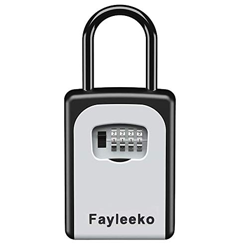 Key Lock Box Wall Mounted, Portable Lock Box for House Key with 4-Digit Combination Key Storage Lock Box Weatherproof Resettable Code House Key Safe Security Lock Box for Outside Realtors Garage Spare