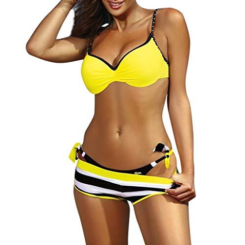 Bikini amarillo y negro de tres piezas push up. Adornos de rayas y lazada lateral