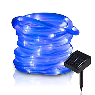 lychee 16.5ft 50LED Waterproof Solar Power String 1.2 V, Daylight White, with Light Sensor, Outdoor Rope Lights, Ideal for Christmas, Party, Wedding