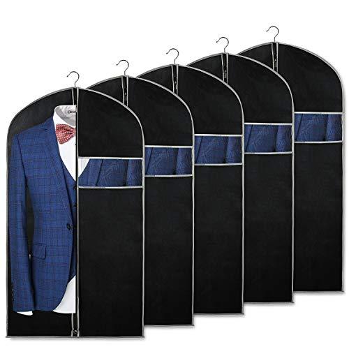 Syeeiex Kleidersäcke Kleiderhülle für die Aufbewahrung von Kleidern und die Aufbewahrung von Reisemänteln mit Fenster und Ausweishalter für Anzug, Jacke, Kleider, Mantel, 5 Stück