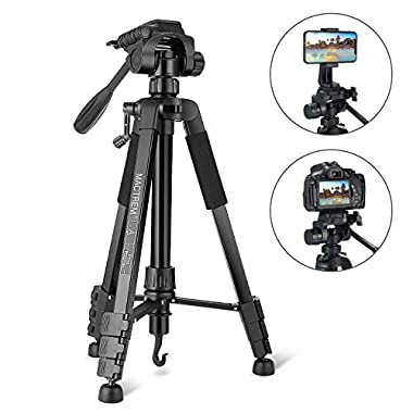 Tripod, Camera Tripod 59  Portable Phone Tripod with Phone Holder, Video Tripod Compatible for Canon Nikon Sony Olympus DV, 360 Panorama, 2.69Lb Lightweight Aluminum Alloy with Travel Bag, 11Lb Load