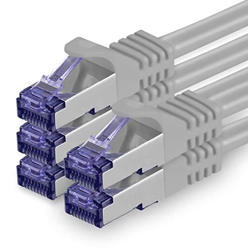 1aTTack.de Cat.7 Cavo di Rete 0,25m - Grigio - 5 Pezzi - Ethernet LAN Cat.7 SFTP PIMF LSZH Spina RJ45 Cat6a 10 Gbit s