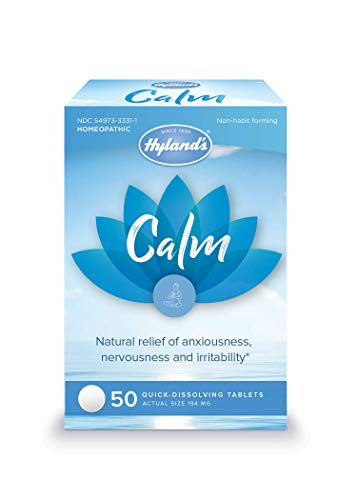 Hyland's Calm Tablets, Anxiety and Stress Relief Supplement, Natural Relief of Anxiousness, Nervousness, and Irritability, 50 count