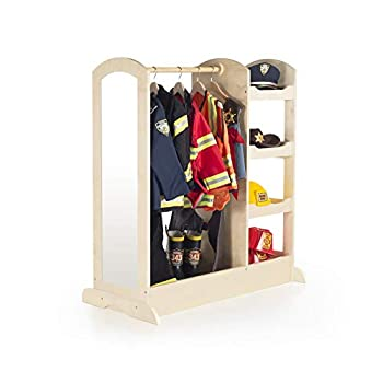 Guidecraft See and Store Dress-up Center – Natural  Armoire for Kids with Mirror & Shelves Clothes Rack and Shoe Storage Dresser with Bottom Tray - Toddlers Room Furniture