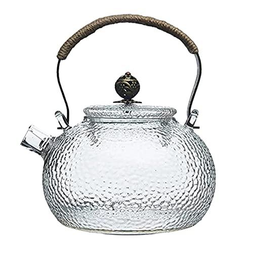Feixunfan Hervidor de té silbido de 700 ml con mango de cobre transparente, de vidrio resistente al calor, se puede calentar hervidor para acampar, senderismo (color transparente, tamaño: talla única)