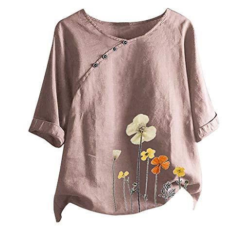 TAMALLU Women Fashion Blouse Flower Print Elegant Hawaiian O-Neck Vintage Pullover Tops(Pink,2XL)