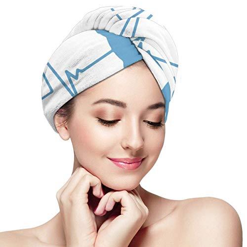 Agoyls Bonnet de Bain/Bonnet de natatio,Womens Hair Drying Towel Wrap with Button Heartbeat of A Gamer Soft Absorbent Microfiber Bath Hair Cap Twist for Long & Curly Hair