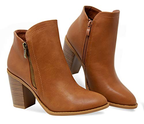 MVE Shoes Women's Side Zip High Stacked Block Heel Ankle Booties, Dave-8 TAN 10