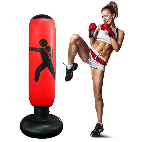 JanTeelGO Boxsack Kinder 160cm, Standboxsack für Sofortiges Zurückprallen zum Üben von Karate, Taekwondo und zur Entlastung von Pent Up Energy bei Kinder (Rot-C)
