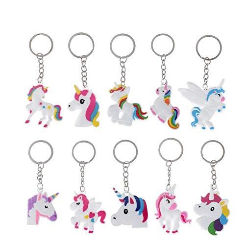 10pcs unicornio llavero Unicorn design Ferroviario de bolsa colgante llavero para mujeres niños niñas