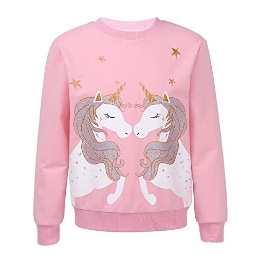 Kaerm Mädchen Sweatshirt für Kinder Baumwolle Top Casual Jumper Kleinkind Einhörner Pferd Druck Langarmshirt Pullover 2 3 4 5 6 7 8 9 10 12 Jahre alt Rosa E 140-152