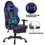 Wolmics Massage Gaming Stuhl - Hohe Rückenlehne Racing Computer Schreibtisch Bürostuhl Drehbarer Ergonomischer Chefsessel aus Leder mit Fußstütze und Verstellbaren Armlehnen, Blau