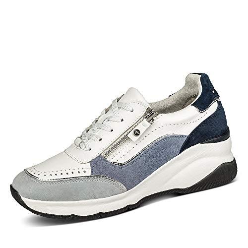 Tamaris Pure Relax Tamaris 23720-26 Low Pure Relax - Zapatillas de mujer con suela acolchada de piel lisa, talla 36, color azul y blanco
