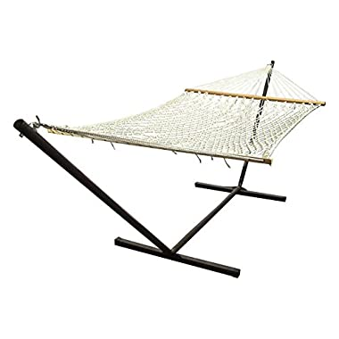 Sunnydaze Polyester Rope Hammock with 15 Foot Steel Stand, Double Wide Two Person with Spreader Bars - For Outdoor Patio, Yard, and Porch