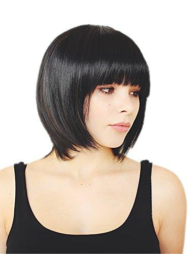 Prettyland Perruque Coupe Courte Frange Bob Raide Droite Chic Wig Naturel comme Vrai Cheveux - Noir C577