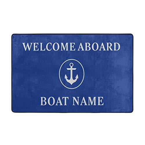 YANAIX Alfombrilla baño, Alfombra de Cocina Puerta Pies Estera Felpudo,Blue Anchor Náutico Bienvenido Nombre del Barco a Bordo 75X45cm