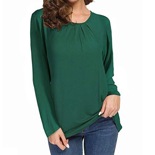 Zytyeu Women T-Shirt Women Tops Sexy Comfortable Fashion Casual Round Neck Long Sleeves Elegant Women Tops Autumn All-Match Loose Stretch Fabric Women Shirt Women Blouse Green. M