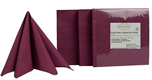 Sensalux Gastro-Servietten, 200 Stück, Farbe wählbar, 3-lagig 1/4-Falz 33 cm x 33 cm, hochwertige Servietten, ideal für Partys, Hochzeiten, Geburtstage Bordeaux-violett