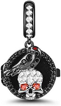 GNOCE Skull Dangle Charm Black Sterling Silver Skull Love Bird Essential Oil Diffuser Charm product image