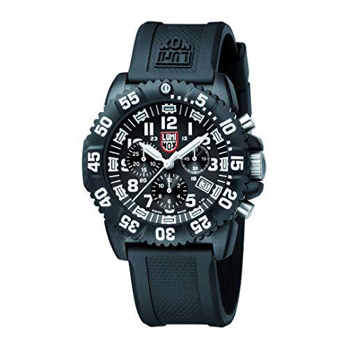 Luminox Outdoor Uhr Herren (XS.3081.L) Made in Schweiz, Schwarzes Gehäuse, schwarzes Ziffernblatt, weiße Ziffern und Zeiger + 200 Meter Wasserdichte Taucheruhr