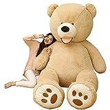 NOVA ぬいぐるみ 特大 くま クマ 熊 テディベア 抱き枕 クッション かわいい だきまくら お祝い プレゼント (ライトブラウン, 130cm)