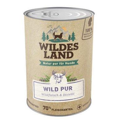 Wildes Land - Wild PUR - 6 x 800 g - Mit Distelöl - Nassfutter für Hunde - Hoher Fleischanteil - Getreidefrei und Glutenfreies Hundefutter