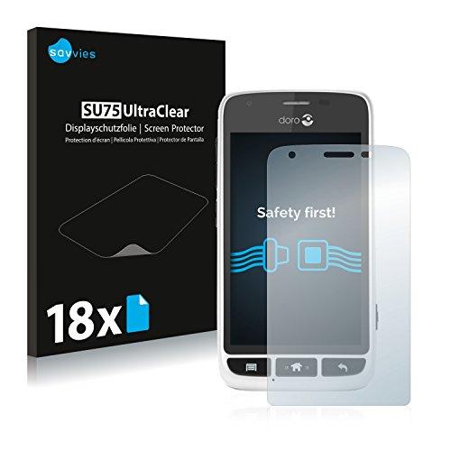 Savvies 18x Schutzfolie kompatibel mit Doro Liberto 820 Mini Bildschirmschutz-Folie Ultra-transparent