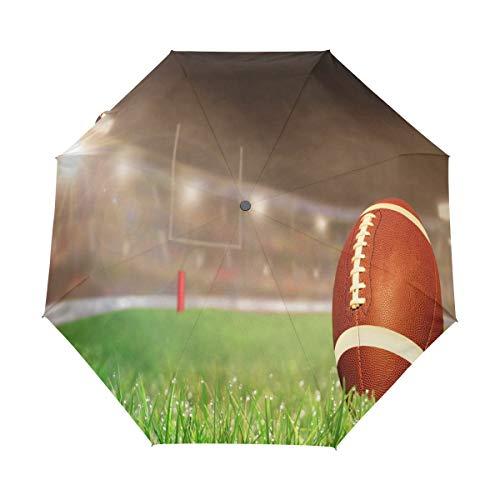 Hunihuni American Football Regenschirm mit automatischem Öffnen, winddicht, wasserdicht, UV-Schutz, Sonnenschutz.