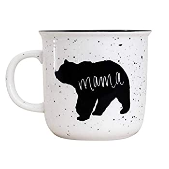 Sweet Water Decor Mama Bear and Papa Bear Coffee Mugs for Moms and Dads | Large 15oz Ceramic Campfire Style Coffee Cup | Cute Camping Couple s Mug Set | Microwave and Dishwasher Safe  Mama Bear