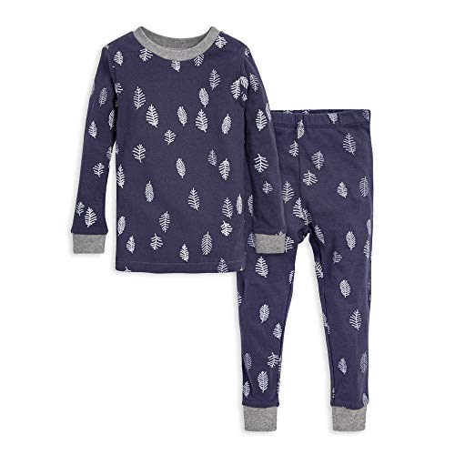 Burt's Bees Baby baby girls Pajamas, Tee Pant 2-piece Pj Set, 100% Organic Cotton and Toddler Pajama Bottoms, Blue in the Pines, 3T US