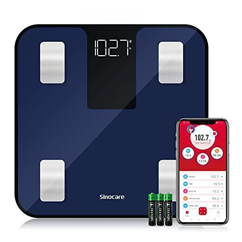 Sinocare Balance Connectée Balance Pèse Personne avec App 14 Données Corporelles (BMI/Muscle/Graisse Corporelle/Masse...