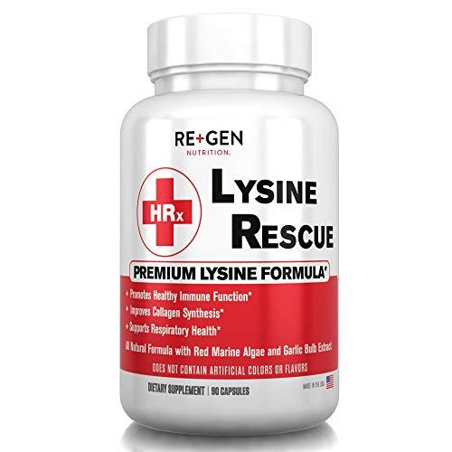 LYSINE Rescue- L Lysine Supplement, Monolaurin, Red Marine Algae, Allicin, All Natural Immune Support 1400mg 90 Capsules
