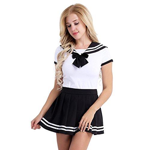 FEESHOW Schulmädchen Uniform Kostüm Set aus Shirt Body + Faltenrock Cosplay Matrose Kragen Hemd Outfits Fliege Body Strampler Nachtwäsche Schwarz M