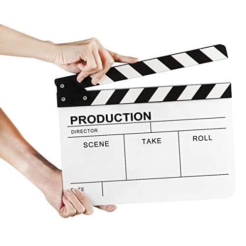 Feibrand Claqueta de Cine Director Pizarras Acrílico Chapaleta para Escena Acción Corte para Película Blanco 30 x 24,4 Centímetros