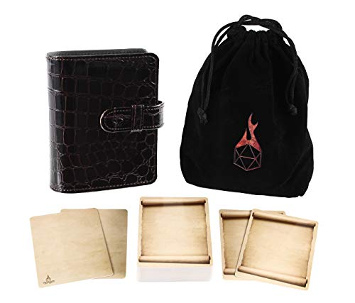 Forged Dice Co Spellbook of Incantations (Dragon Skin Edition) Spellbook Card Holder & Deck of Dry Erase Cards with Velvet Storage Bag - Storage for D&D Spell Book Monster Magic Item Cards