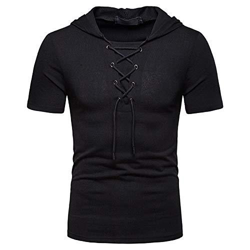 Camiseta de Manga Corta con Capucha para Hombre Moda Suelta Casual Cómodo Color sólido Tendencia Simple Jersey al Aire Libre Top con cordón M