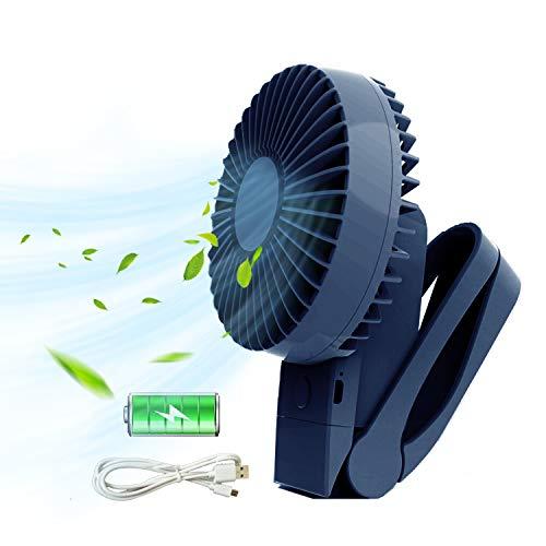 TKOOFN Mini Ventilatore USB, ventilatore a clip Tenuto in mano Portatile pieghevole Regolabile Ricaricabile 4000mAh con Rotazione a 360 Gradi 4 Velocità per Tavolo Casa, Ufficio, Campeggio, Esterno